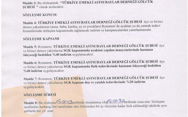 Romatem ile üyelerimize özel indirim anlaşması yapılmıştır.
