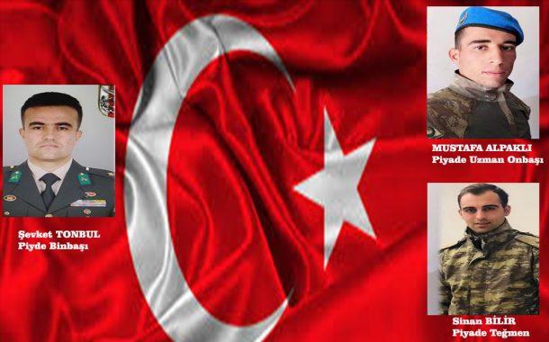 Şehitlerimiz var; Barış Pınarı Harekatında Piyade Binbaşı Şevket TONBUL, Piyade Teğmen Sinan BİLİR ve Piyade Uzman Onbaşı Mustafa ALPAKLI şehit olmuşlardır.
