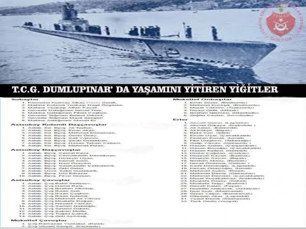 4 NİSAN 1953 tarihinde TCG Dumlupınar denizaltısında kaza sonucu hayatını yitiren meslektaşlarımızı saygıyla anıyoruz.